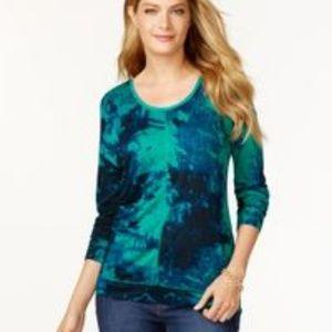 Calvin Klein Green Long Sleeve Printes Top Sz M